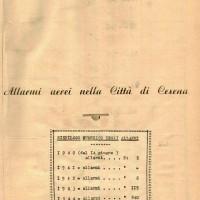 Prima pagina del libro del Comune in cui si registravano gli allarmi aerei (1940-1944)