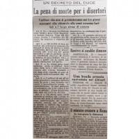"""Avviso su """"La Scure"""" del 20 febbraio 1944 contro i renitenti e i disertori"""