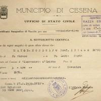 Documento attestante che Emanuele Mondolfo risulta di razza ebraica (Archivio Anagrafico del Comune)
