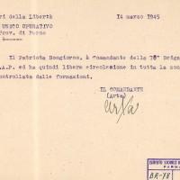 Nomina del comandante della 78a Brigata Garibaldi SAP.
