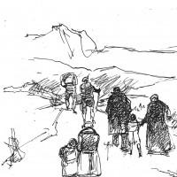 Don Odo e i Lerher verso il confine svizzero (disegno di G. Cappelli)