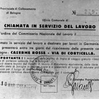 Marzo 1944, lettera di convocazione presso le Caserme rosse per i lavoratori coatti da inviare in Germania