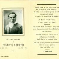 Ricordino commemorativo di Ernesto Barbieri