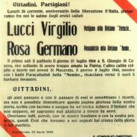 Manifesto ANPI sulla traslazione della salma di Virgilio Lucci, 23 aprile 1949