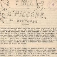 """Il """"Piccone"""" in montagna, Giornale della 47a brigata Garibaldi, che annuncia la morte di Remo Coen, partigiano """"Raffaello"""", insieme agli altri membri del comando brigata"""