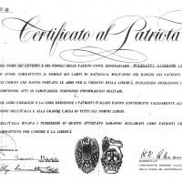 Certificato del patriota di Giuseppe Folegatti