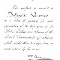 Attestato di riconoscimento alleato, firmato dal generale Alexander, Comandante supremo delle forze alleate del Mediterraneo