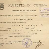 Documento attestante che Giorgio Saralvo risulta di razza ebraica (Archivio anagrafico del Comune)