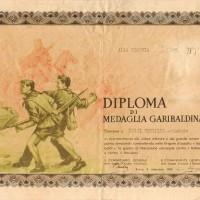 Diploma di medaglia garibaldina di Virgilio Lucci