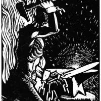 Olivucci per La voce del popolo, n. 1 maggio 1943, silografia