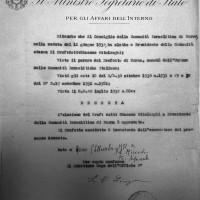 Approvazione del Ministero dell'Interno dell'elezione di Ottolenghi a Presidente della Comunità israelitica di Parma, settembre 1932. Archivio di Stato di Parma