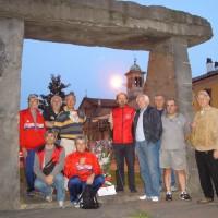 """Una partenza della """"bicistaffetta partigiana"""" alla presenza del Presidente dell'ANPI di Piacenza Mario Cravedi"""
