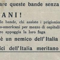 Propaganda fascista che intima alla popolazione di non sostenere né la lotta di liberazione, né i prigionieri alleati in fuga