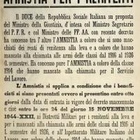 Manifesto che annuncia una delle tante amnistie offerte dal fascismo repubblicano.