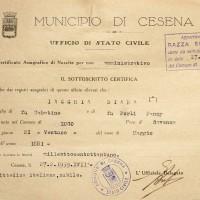 Documento attestante che Diana Jacchia risulta di razza ebraica (Archivio anagrafico del Comune)