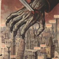 Il manifesto mostra un esempio della propaganda anti-sovietica fascista. La Repubblica Sociale Italiana cavalca le paure nei confronti del bolscevismo per dipingere una minaccia incombente sull'Europa, arrestabile soltanto con l'intervento armato dell'Asse.