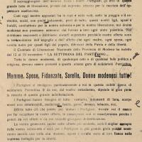 Volantino diffuso dai GDD che invita le donne a partecipare alla Settimana del partigiano, indetta dal CLN modenese dal 12 al 19 novembre 1944