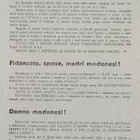 """Nella tarda estate del 1944 le organizzazioni della Resistenza modenese esortano le donne e i civili a collaborare quanto più possibile con i partigiani, lasciando """"tutte le porte aperte"""" ai gappisti."""