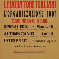 Manifesto per la ricerca di lavoratori per la Todt, Piacenza