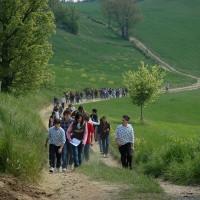 Studenti che percorrono il Sentiero della memoria.