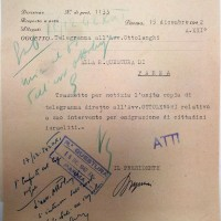 Documento della Commissione per la censura che segnala l'opera di Ottolenghi per consentire l'emigrazione di cittadini ebrei. Archivio di Stato di Parma