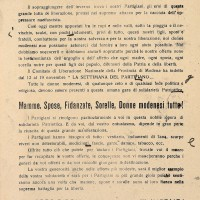 """Fra il 12 e il 19 novembre 1944 le organizzazioni della Resistenza modenese indicono la """"Settimana del partigiano"""". I Gruppi di Difesa della Donna invitano le militanti a mobilitarsi per raccogliere quanti più viveri, indumenti e mezzi di sostegno possibili per i combattenti."""