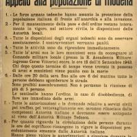 Appello del comando tedesco alla popolazione modenese.