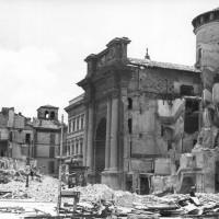 La Chiesa di San Pietro e la canonica dopo i bombardamenti alleati