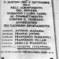 Lapide commemorativa per i carristi caduti nel combattimento dell'8 settembre 1943