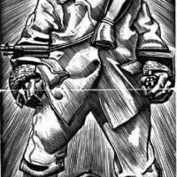 Olivucci Il partigiano 1944, silografia
