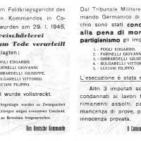 Pubblicizzazione della condanna ed esecuzione di partigiani da parte del comando tedesco