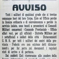 Avviso del 42° Comando militare dell'esercito repubblichino.
