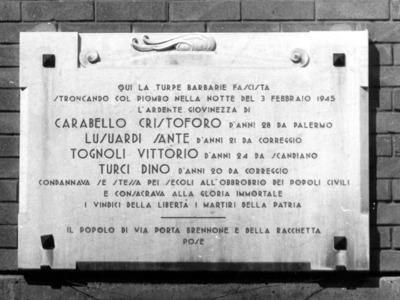 Eccidio partigiano di Via Porta Brennone – Via Porta Brennone/Corso Garibaldi