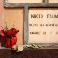 Lapide nella cripta del cimitero monumentale di Cesena che identifica Pietro Maganza come ignoto