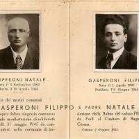 Ricordino commemorativo di Natale Gasperoni e del figlio Filippo