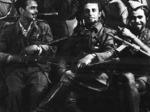 """Bardi. Partigiani della 12a Brigata Garibaldi """"Ognibene"""". Arturo Conti (Garibaldi), partigiano il Romani, Alfeo Signifredi, Carlo Signifredi, Narciso Ferrari."""