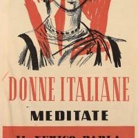 """Questo volantino propagandistico della Repubblica sociale italiana, rivolto alle donne, attribuisce agli Alleati volontà sessualmente """"rapaci""""."""