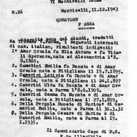 Documento che attesta l'arresto e il trasferimento nel campo di Monticelli di Orsola, Gemma, Letizia, Ulda, Emilia e i suoi due figli. Archivio di Stato di Parma