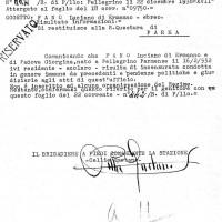 Documento dei Carabinieri di Pellegrino Parmense sulla condotta di Luciano Fano