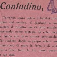 """I caseifici sono punti di ritrovo per i lavoratori dei campi, che nella Prima zona partigiana sostengono in gran numero la lotta di Liberazione. La propaganda tedesca e fascista non smette, però, di rivolgersi al """"contadino"""" italiano, esortandolo a opporsi ai """"ribelli"""" per assicurarsi la protezione delle truppe occupanti."""