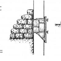 Esempio di tamponatura delle aperture nei locali adibiti a rifugio antiaereo (C. RIZZOLI, La protezione antiaerea nella tecnica edilizia, Edizioni Tecniche-Utilitarie, Bologna, 1937, p. 135)