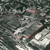 Vista aerea dell'area occupata dall'Arrigoni, stabilimenti A, zona stazione (ANPI-Cesena)