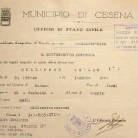 Documento attestante che Araldo Dellamore risulta di razza ebraica (Archivio anagrafico del Comune)
