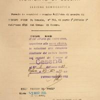Documento attestante che Mario Saralvo risulta di razza ebraica (Archivio anagrafico del Comune)