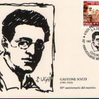 Cartolina con annullo speciale per l'80°anniversario del martirio di Gastone Sozzi (disegno di Alberto Sughi)