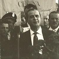 27 agosto 1963. Antonio Manuzzi commemora Cino Macrelli al Cimitero di Cesena