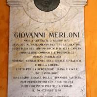 Loggiato comunale, la lapide dedicata alla memoria di Giovanni Merloni