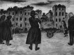 """Il corpo di Eleuterio Massari viene riportato a casa dalla moglie (""""Oltretorrente 1 settembre 1944"""", Remo Gaibazzi)"""