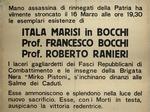 Manifesto che ricorda la morte di Francesco Bocchi. I partigiani intendevano catturarlo per portarlo a Monchio, perché era considerato il principale responsabile della strage.