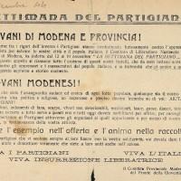 """Fra il 12 e il 19 novembre 1944 le organizzazioni della Resistenza modenese indicono la """"Settimana del partigiano"""". I militanti del Fronte della Gioventù vengono incitati a mobilitarsi per raccogliere quanti più viveri, indumenti e mezzi di sostegno possibili per i combattenti."""